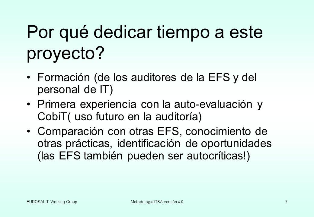 EUROSAI IT Working GroupMetodología ITSA versión 4.07 Por qué dedicar tiempo a este proyecto? Formación (de los auditores de la EFS y del personal de