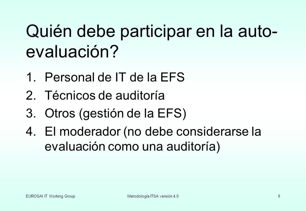 EUROSAI IT Working GroupMetodología ITSA versión 4.09 Quién debe participar en la auto- evaluación? 1.Personal de IT de la EFS 2.Técnicos de auditoría