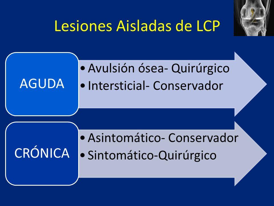 Lesiones Aisladas de LCP Avulsión ósea- Quirúrgico Intersticial- Conservador AGUDA Asintomático- Conservador Sintomático-Quirúrgico CRÓNICA