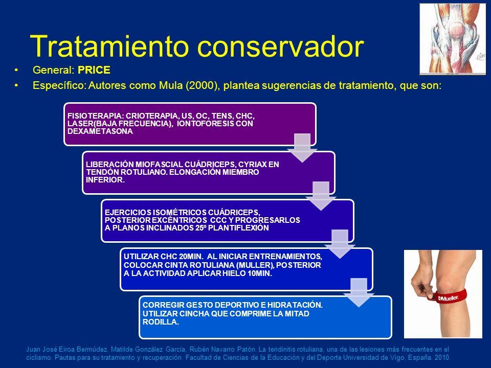 Tratamiento conservador General: PRICE Específico: Autores como Mula (2000), plantea sugerencias de tratamiento, que son: Juan José Eiroa Bermúdez, Matilde González García, Rubén Navarro Patón.