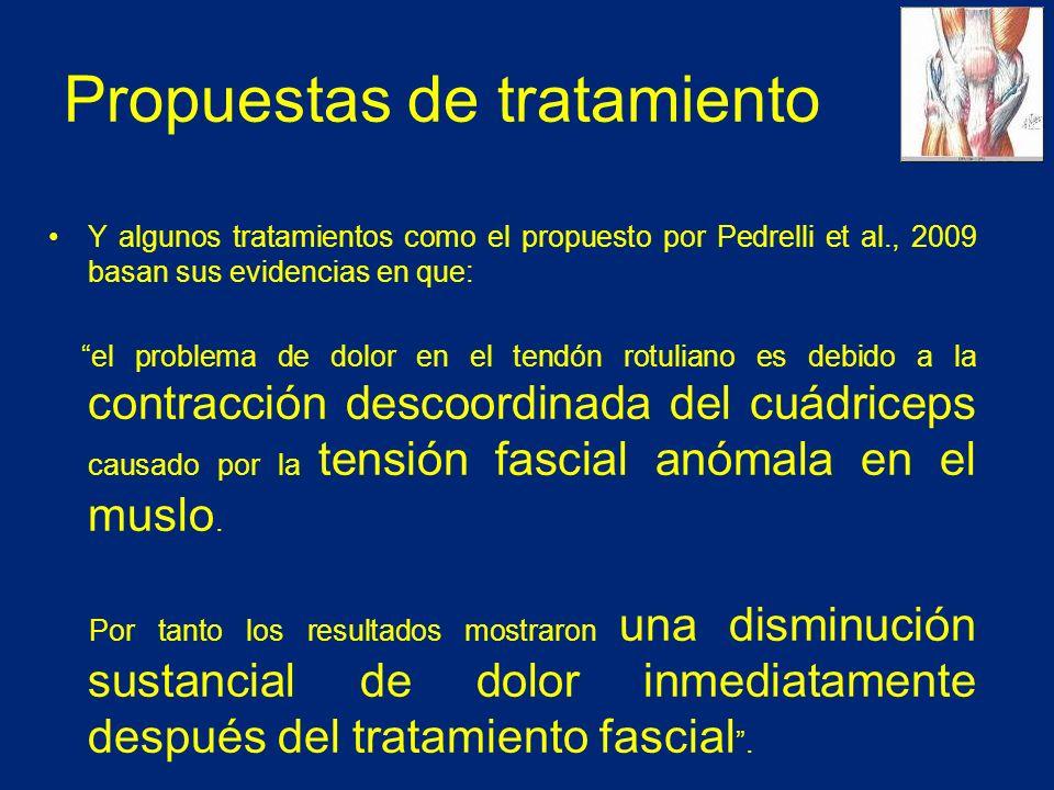 Propuestas de tratamiento Y algunos tratamientos como el propuesto por Pedrelli et al., 2009 basan sus evidencias en que: el problema de dolor en el tendón rotuliano es debido a la contracción descoordinada del cuádriceps causado por la tensión fascial anómala en el muslo.