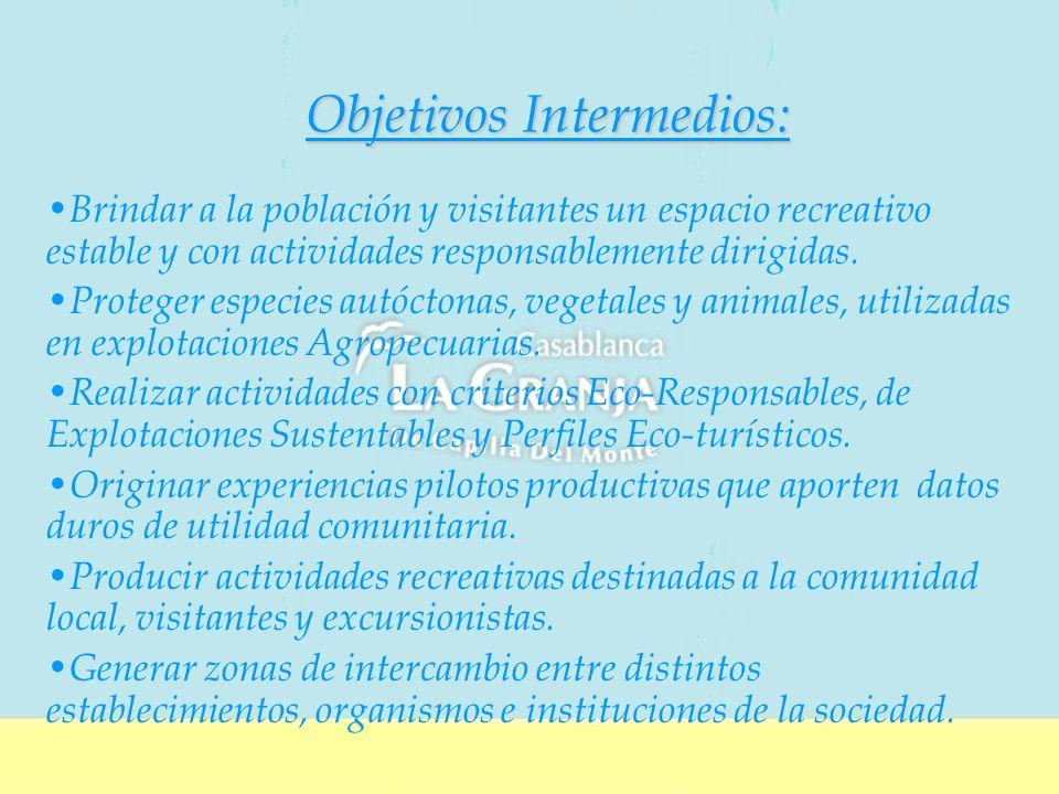 Objetivos Intermedios: Brindar a la población y visitantes un espacio recreativo estable y con actividades responsablemente dirigidas.