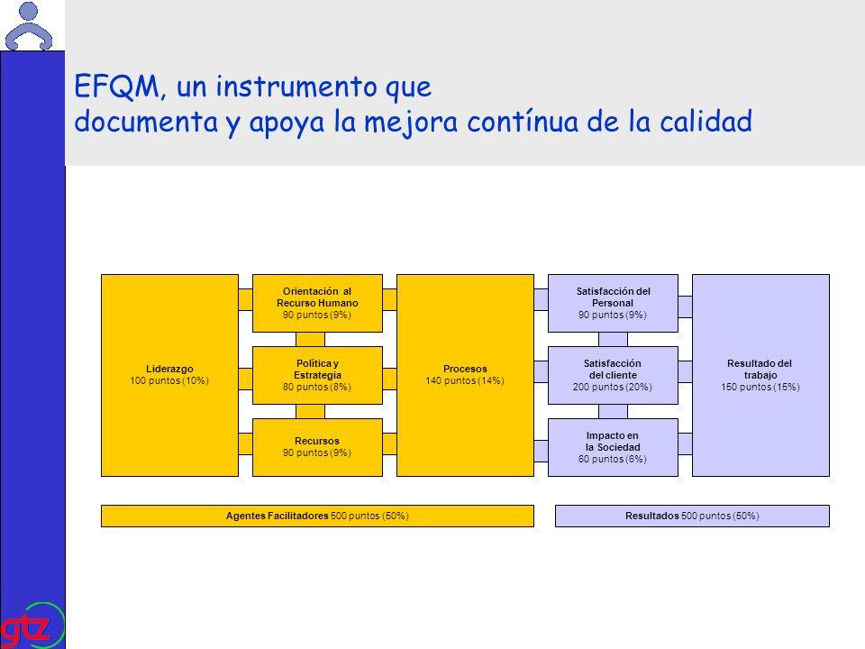 Martin Kade EFQM, un instrumento que documenta y apoya la mejora contínua de la calidad Liderazgo 100 puntos (10%) Agentes Facilitadores 500 puntos (50%)Resultados 500 puntos (50%) Política y Estrategia 80 puntos (8%) Procesos 140 puntos (14%) Satisfacción del cliente 200 puntos (20%) Resultado del trabajo 150 puntos (15%) Orientación al Recurso Humano 90 puntos (9%) Recursos 90 puntos (9%) Satisfacción del Personal 90 puntos (9%) Impacto en la Sociedad 60 puntos (6%)