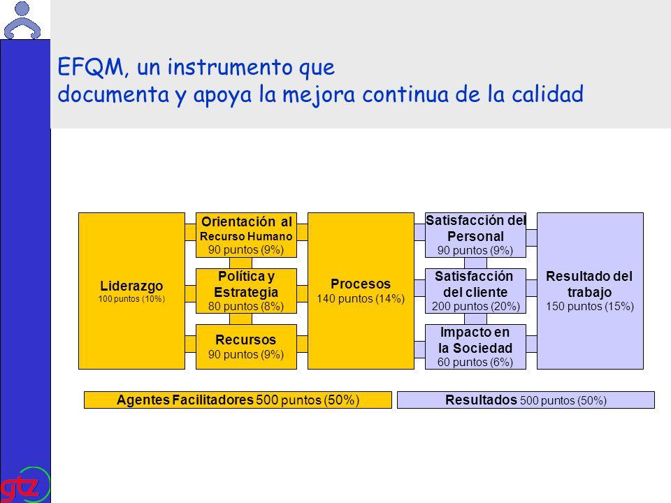 Martin Kade EFQM, un instrumento que documenta y apoya la mejora continua de la calidad Liderazgo 100 puntos (10%) Agentes Facilitadores 500 puntos (50%)Resultados 500 puntos (50%) Política y Estrategia 80 puntos (8%) Procesos 140 puntos (14%) Satisfacción del cliente 200 puntos (20%) Resultado del trabajo 150 puntos (15%) Orientación al Recurso Humano 90 puntos (9%) Recursos 90 puntos (9%) Satisfacción del Personal 90 puntos (9%) Impacto en la Sociedad 60 puntos (6%)