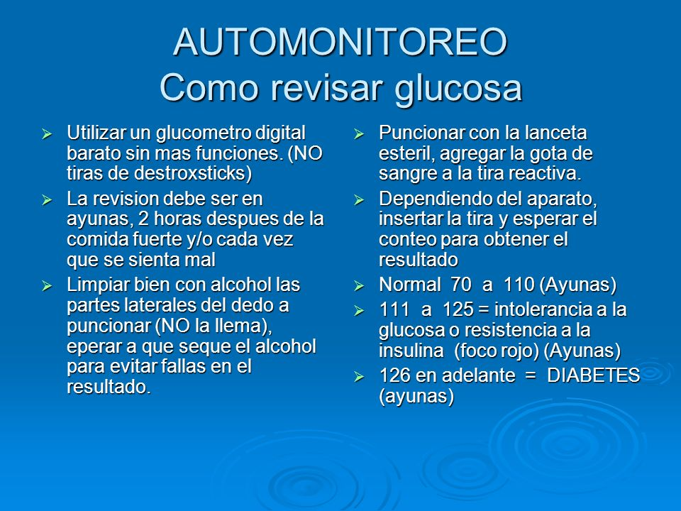 SITUACIONES DE EMERGENCIA Diabetes Hiperglucemia: Cifras de glucosa en ayunas arriba de 126 mg/dl Hiperglucemia: Cifras de glucosa en ayunas arriba de 126 mg/dl Sintomas: sed, hambre, aumenta frecuencia de micciones, perdida de peso, fatiga, vision borrosa, heridas que no sanan, piel reseca, calambres, irritabilidad e infecciones frecuentes (mareos) Sintomas: sed, hambre, aumenta frecuencia de micciones, perdida de peso, fatiga, vision borrosa, heridas que no sanan, piel reseca, calambres, irritabilidad e infecciones frecuentes (mareos) QUE HACER: QUE HACER: revisar glucosa, anotar cifra, fecha y hora revisar glucosa, anotar cifra, fecha y hora Si tomo su medicacion esperar una hora y volver a revisar, si no la tomo, hacerlo cuanto antes en la dosis indicada Si tomo su medicacion esperar una hora y volver a revisar, si no la tomo, hacerlo cuanto antes en la dosis indicada Si la cifra es 250 mg/dl o mas llamar al medico o acudir a urgencias para su control.