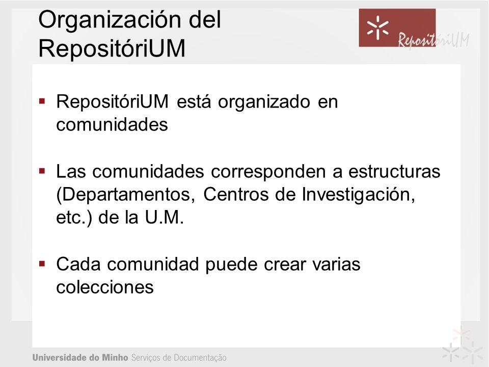 Organización del RepositóriUM RepositóriUM está organizado en comunidades Las comunidades corresponden a estructuras (Departamentos, Centros de Investigación, etc.) de la U.M.
