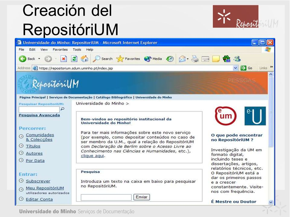 Creación del RepositóriUM Se inició en Maio de 2003.