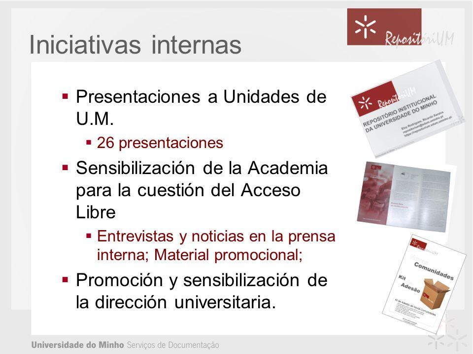 Iniciativas internas Presentaciones a Unidades de U.M.