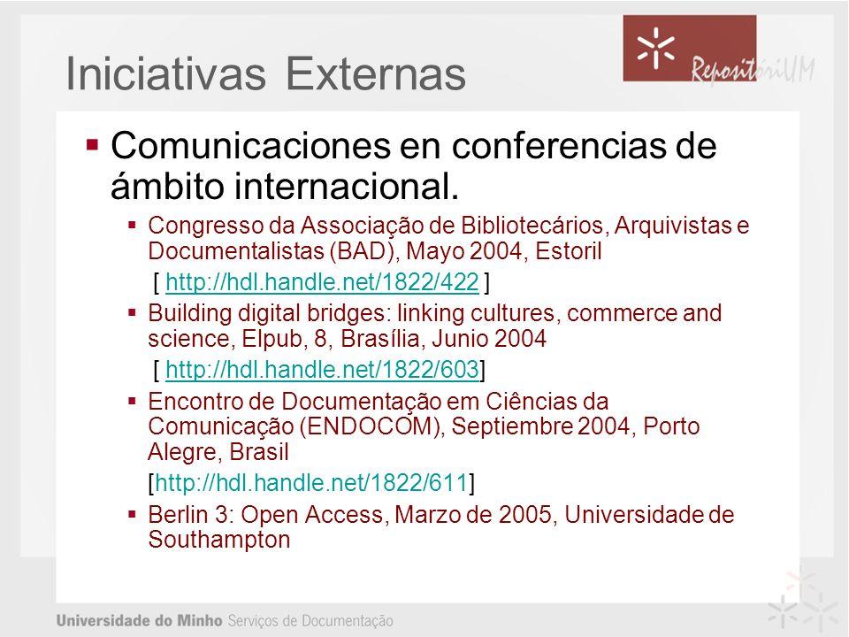 Comunicaciones en conferencias de ámbito internacional.