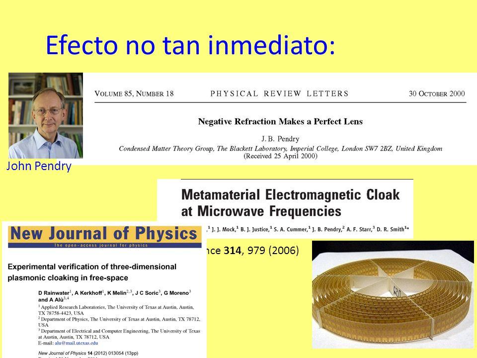 Efecto no tan inmediato: Science 314, 979 (2006) John Pendry
