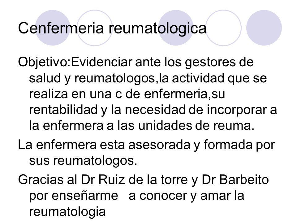 Cenfermeria reumatologica Objetivo:Evidenciar ante los gestores de salud y reumatologos,la actividad que se realiza en una c de enfermeria,su rentabil