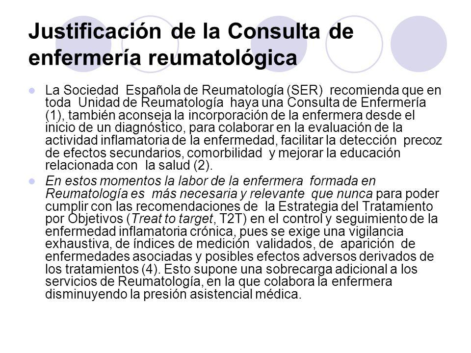 Justificación de la Consulta de enfermería reumatológica La Sociedad Española de Reumatología (SER) recomienda que en toda Unidad de Reumatología haya