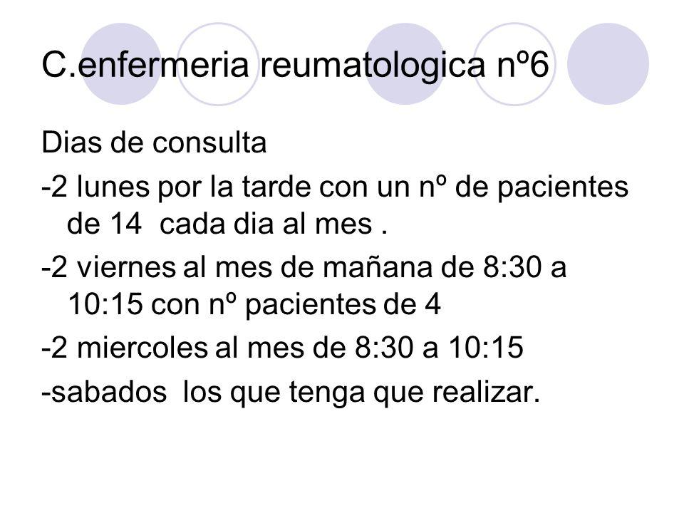 C.enfermeria reumatologica nº6 Dias de consulta -2 lunes por la tarde con un nº de pacientes de 14 cada dia al mes. -2 viernes al mes de mañana de 8:3