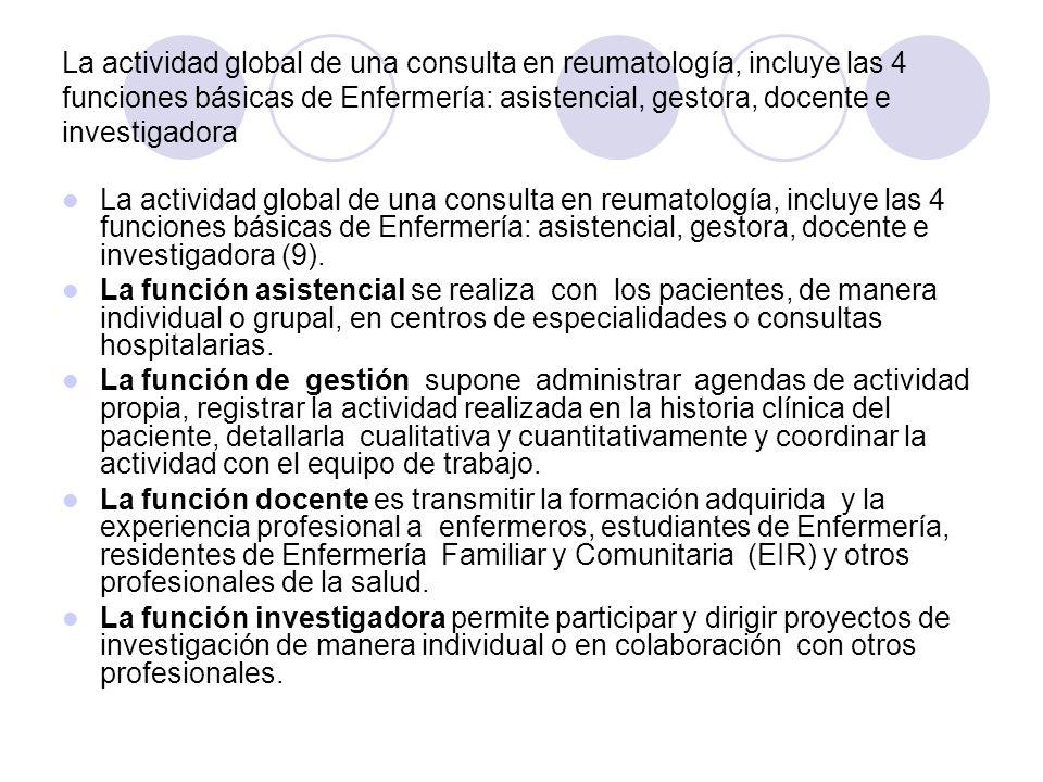 La actividad global de una consulta en reumatología, incluye las 4 funciones básicas de Enfermería: asistencial, gestora, docente e investigadora La a