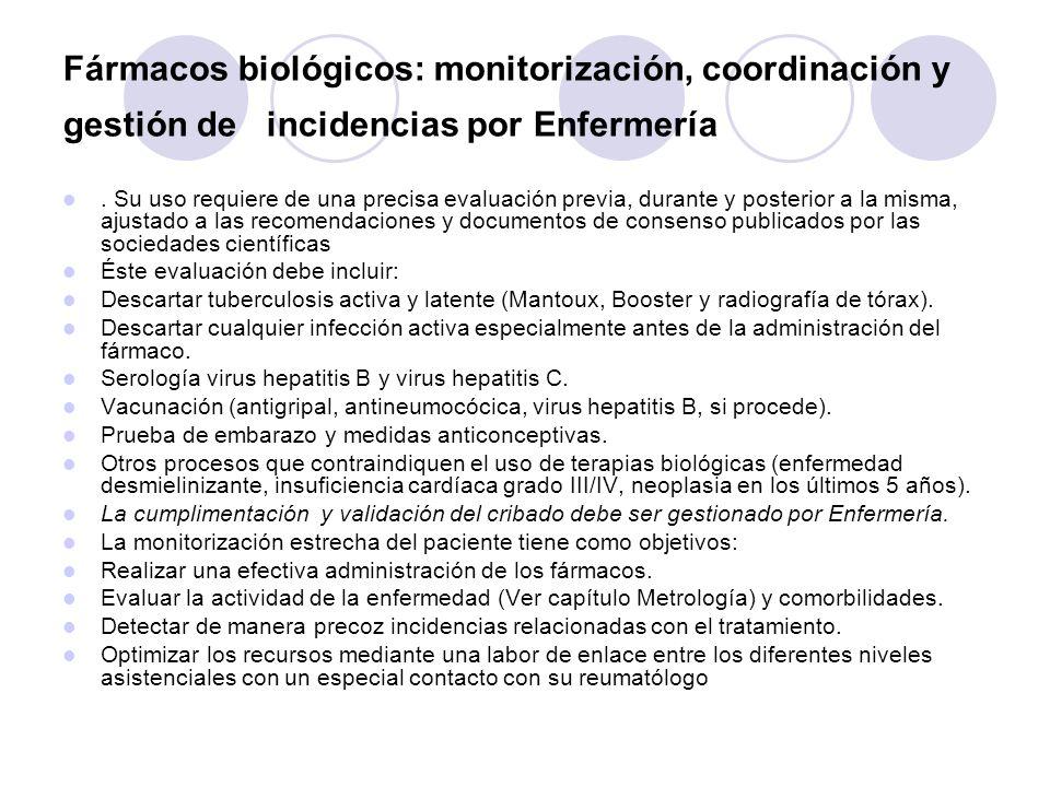 Fármacos biológicos: monitorización, coordinación y gestión de incidencias por Enfermería. Su uso requiere de una precisa evaluación previa, durante y