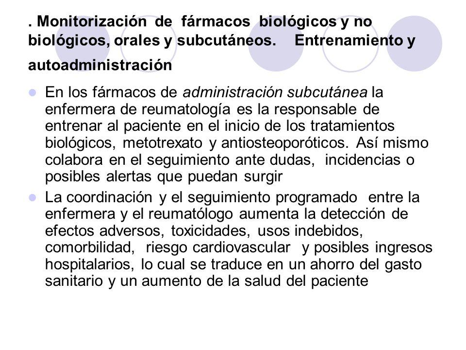 . Monitorización de fármacos biológicos y no biológicos, orales y subcutáneos. Entrenamiento y autoadministración En los fármacos de administración su