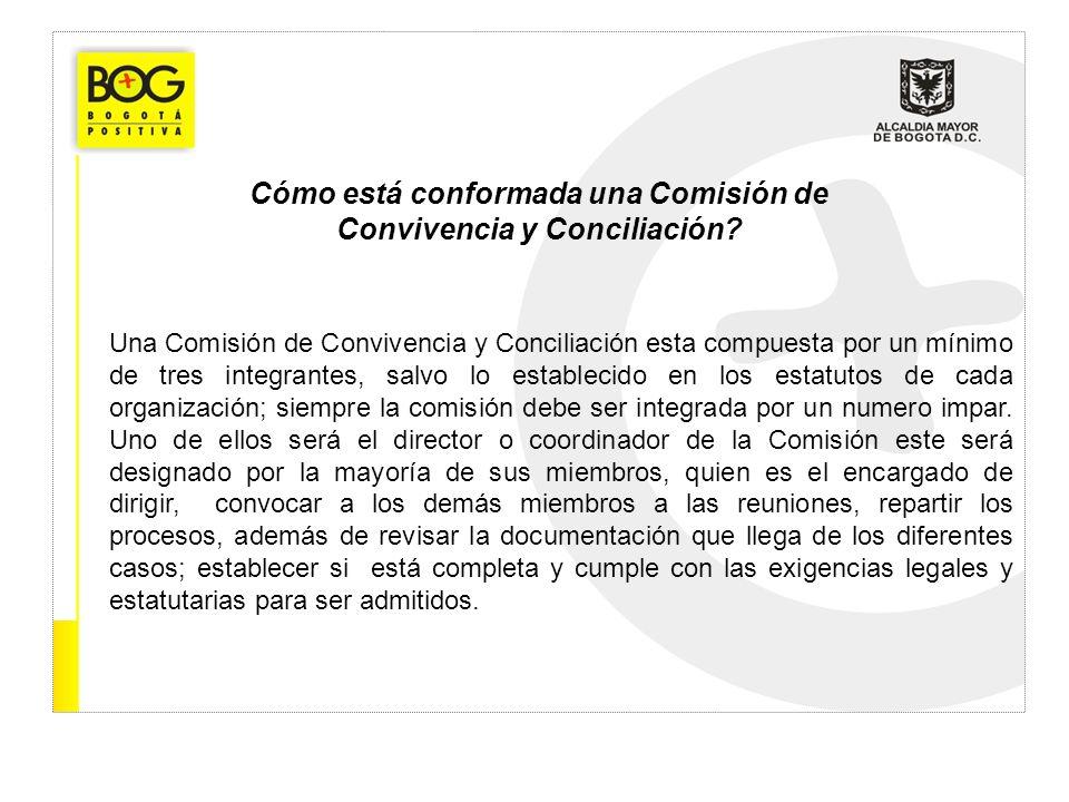 Cómo está conformada una Comisión de Convivencia y Conciliación? Una Comisión de Convivencia y Conciliación esta compuesta por un mínimo de tres integ