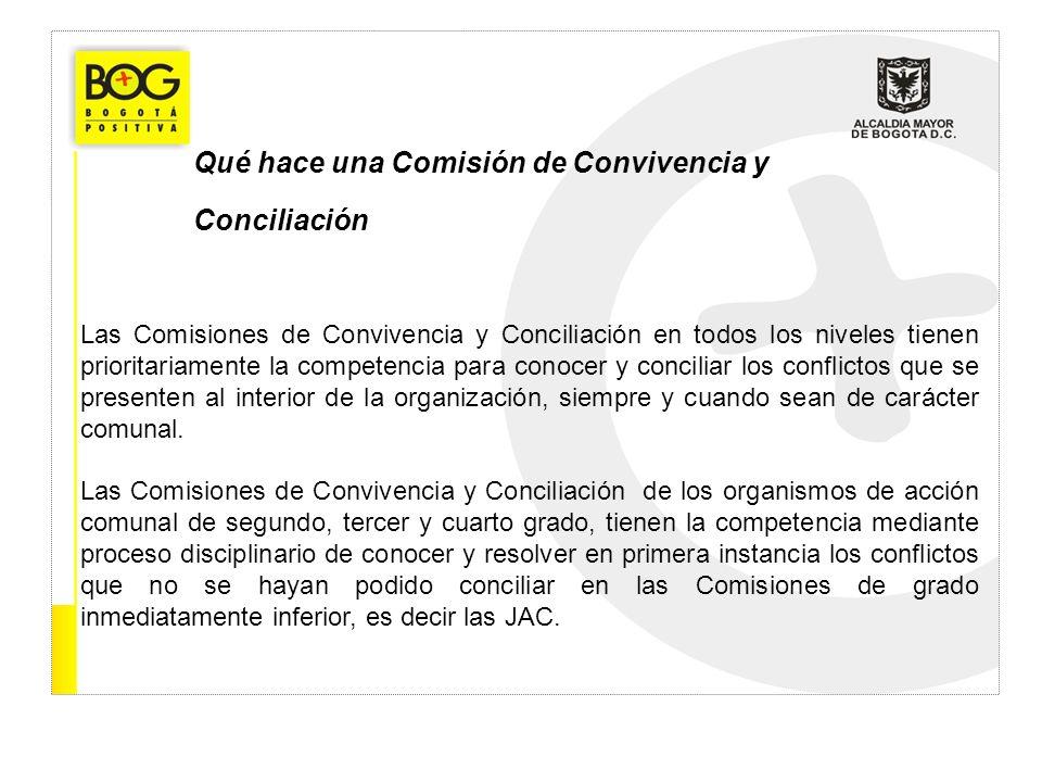 Qué hace una Comisión de Convivencia y Conciliación Las Comisiones de Convivencia y Conciliación en todos los niveles tienen prioritariamente la compe