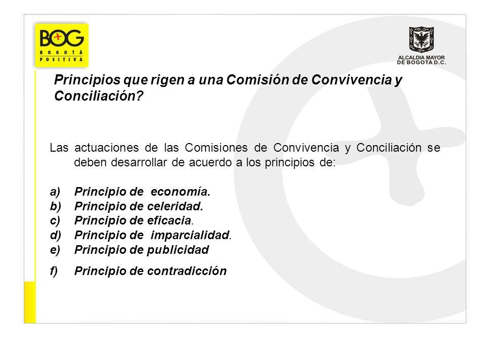 Principios que rigen a una Comisión de Convivencia y Conciliación? Las actuaciones de las Comisiones de Convivencia y Conciliación se deben desarrolla