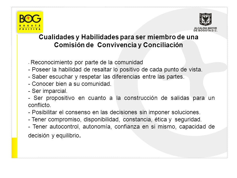 Cualidades y Habilidades para ser miembro de una Comisión de Convivencia y Conciliación - Reconocimiento por parte de la comunidad - Poseer la habilid