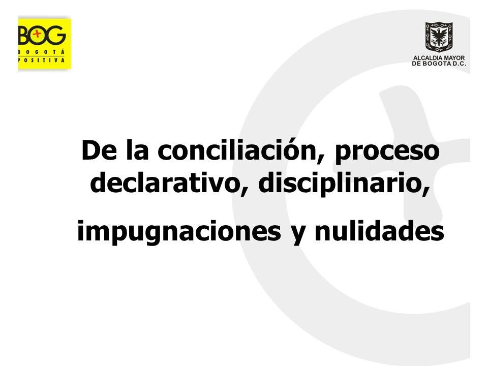 De la conciliación, proceso declarativo, disciplinario, impugnaciones y nulidades