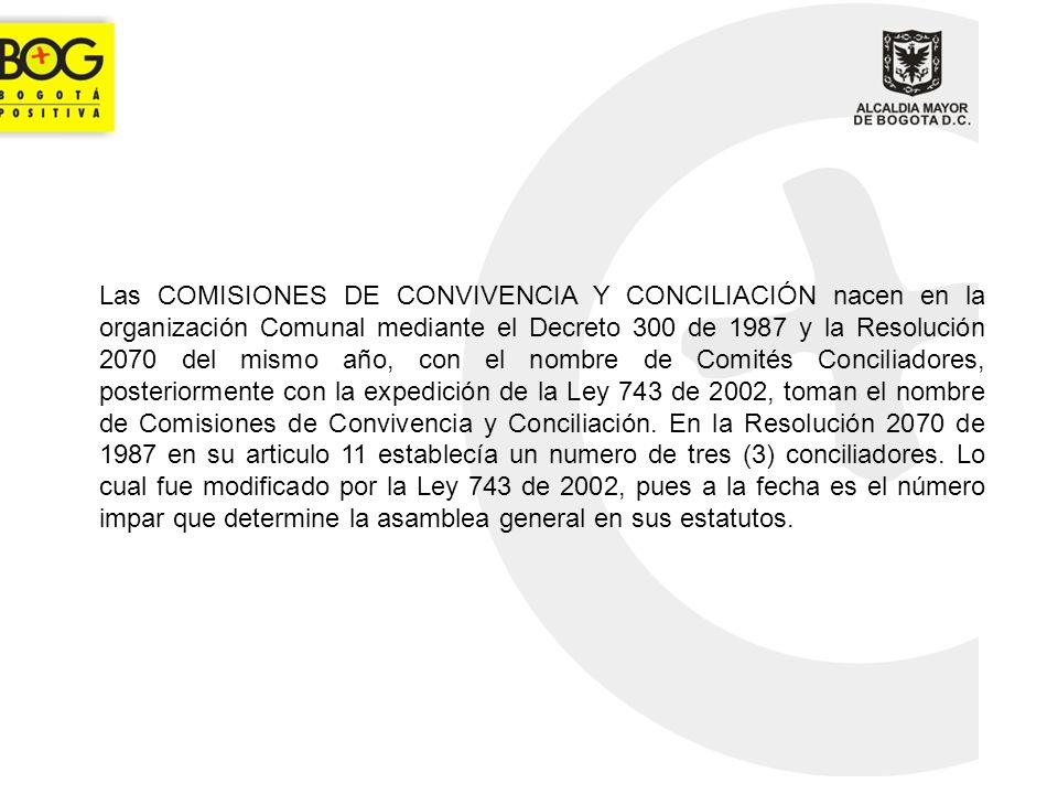 Las COMISIONES DE CONVIVENCIA Y CONCILIACIÓN nacen en la organización Comunal mediante el Decreto 300 de 1987 y la Resolución 2070 del mismo año, con