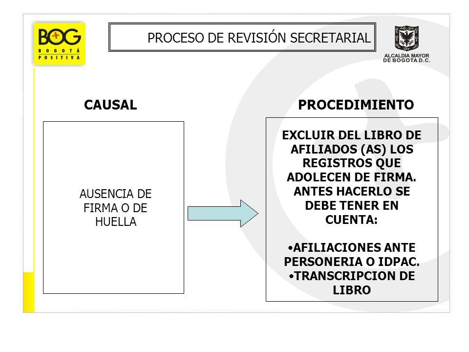 PROCESO DE REVISIÓN SECRETARIAL CAUSALPROCEDIMIENTO AUSENCIA DE FIRMA O DE HUELLA EXCLUIR DEL LIBRO DE AFILIADOS (AS) LOS REGISTROS QUE ADOLECEN DE FI