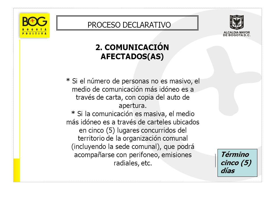 PROCESO DECLARATIVO 2. COMUNICACIÓN AFECTADOS(AS) * Si el número de personas no es masivo, el medio de comunicación más idóneo es a través de carta, c