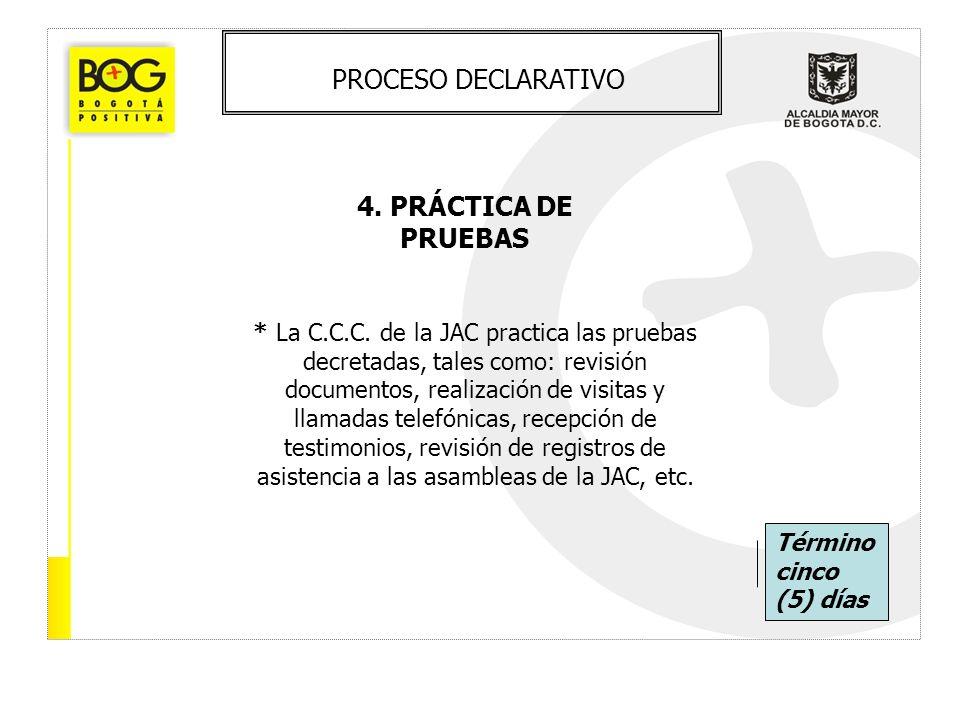 PROCESO DECLARATIVO 4. PRÁCTICA DE PRUEBAS * La C.C.C. de la JAC practica las pruebas decretadas, tales como: revisión documentos, realización de visi