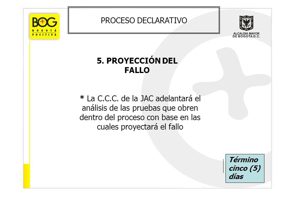 PROCESO DECLARATIVO 5. PROYECCIÓN DEL FALLO * La C.C.C. de la JAC adelantará el análisis de las pruebas que obren dentro del proceso con base en las c