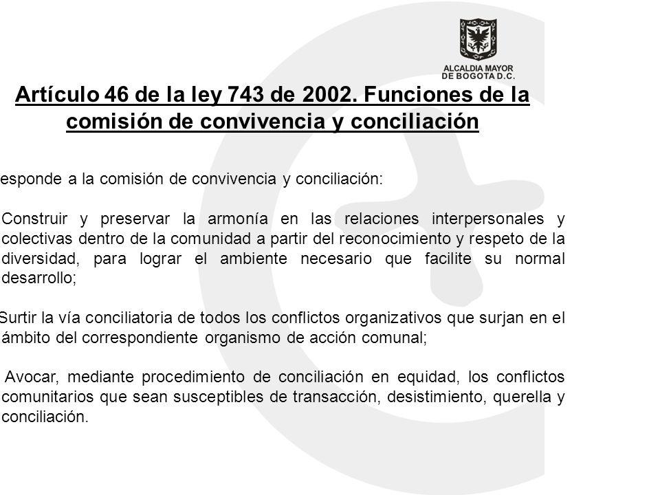 Artículo 46 de la ley 743 de 2002. Funciones de la comisión de convivencia y conciliación Corresponde a la comisión de convivencia y conciliación: a)C