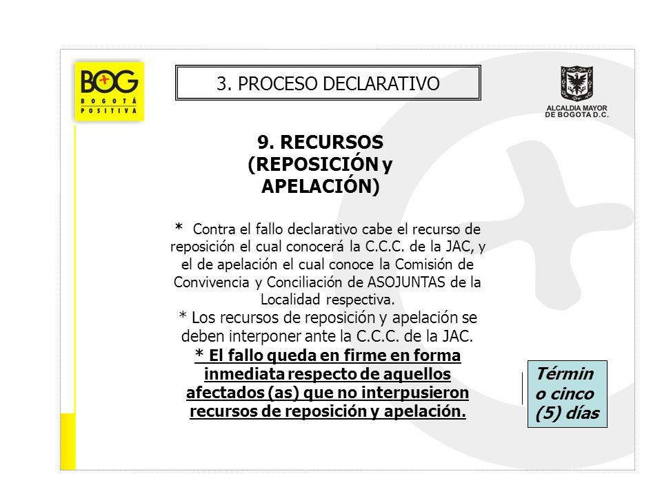 3. PROCESO DECLARATIVO 9. RECURSOS (REPOSICIÓN y APELACIÓN) * Contra el fallo declarativo cabe el recurso de reposición el cual conocerá la C.C.C. de