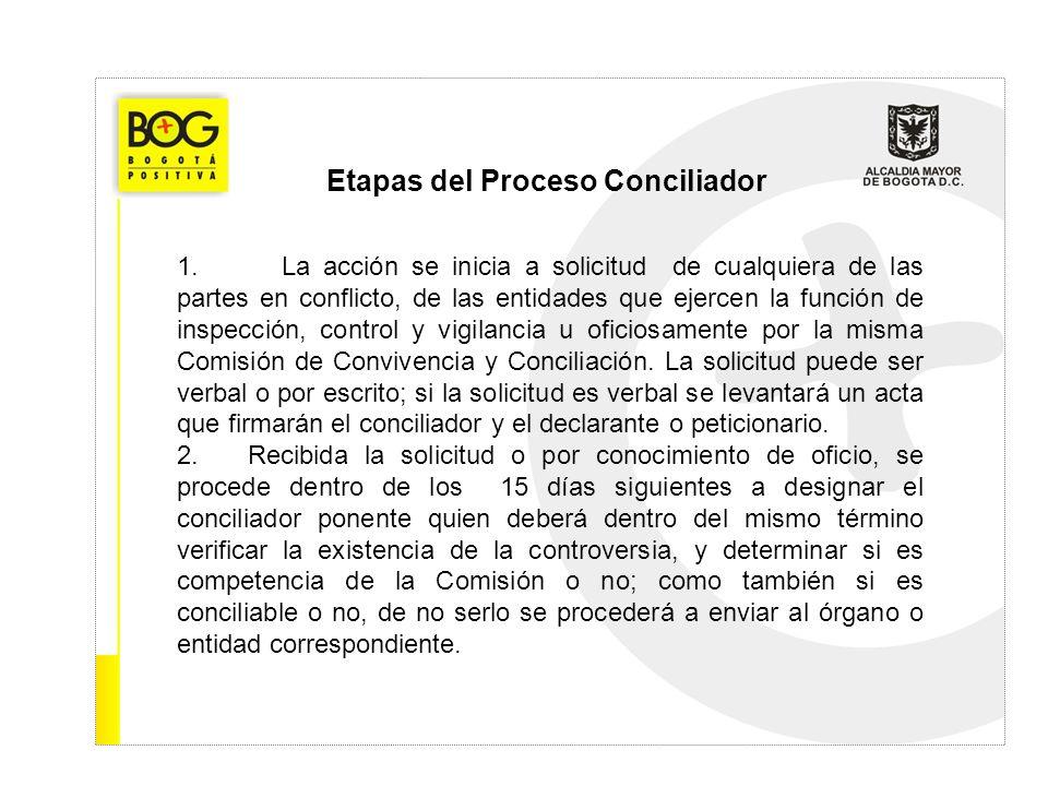 Etapas del Proceso Conciliador 1.La acción se inicia a solicitud de cualquiera de las partes en conflicto, de las entidades que ejercen la función de
