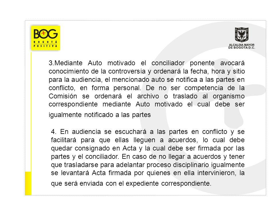 3.Mediante Auto motivado el conciliador ponente avocará conocimiento de la controversia y ordenará la fecha, hora y sitio para la audiencia, el mencio