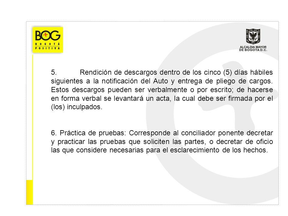 5.Rendición de descargos dentro de los cinco (5) días hábiles siguientes a la notificación del Auto y entrega de pliego de cargos. Estos descargos pue