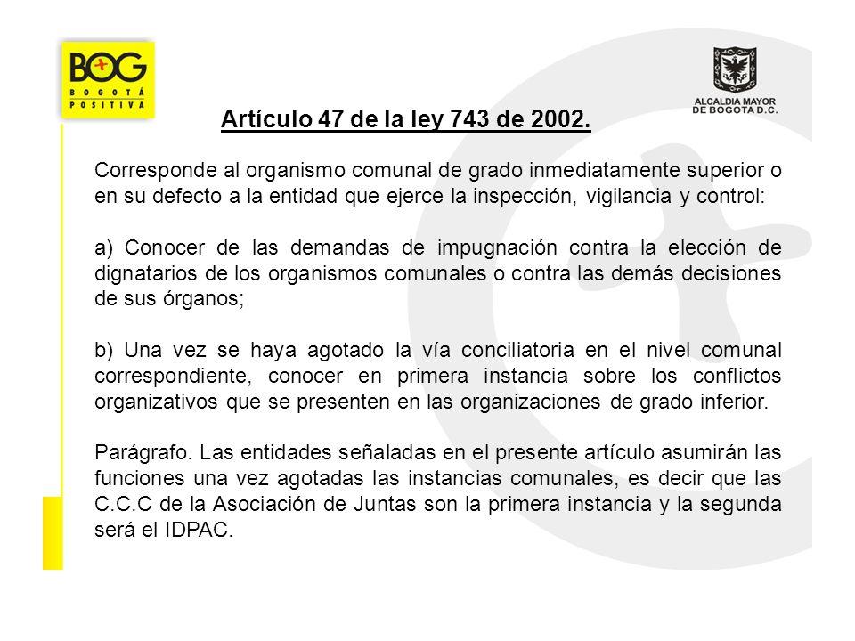 Artículo 47 de la ley 743 de 2002. Corresponde al organismo comunal de grado inmediatamente superior o en su defecto a la entidad que ejerce la inspec