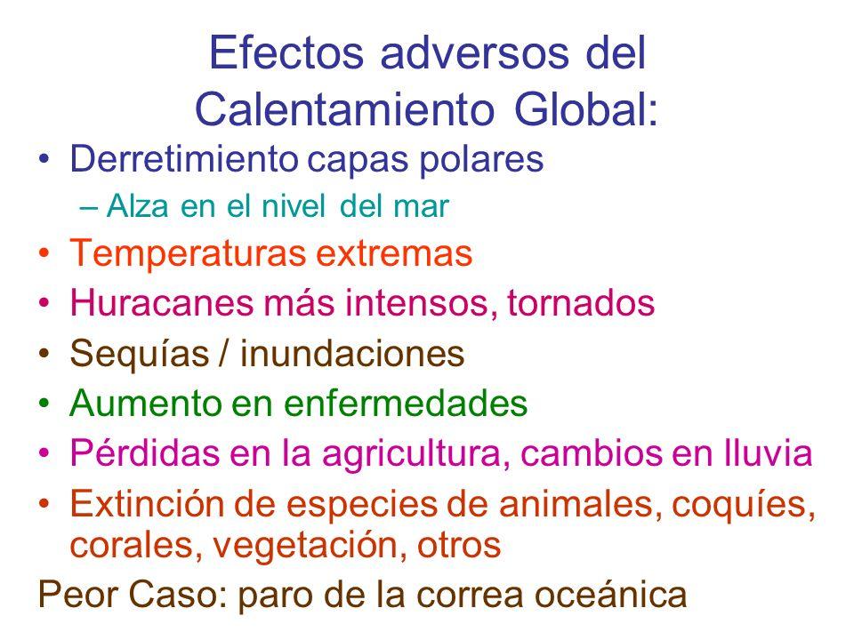 Efectos adversos del Calentamiento Global: Derretimiento capas polares –Alza en el nivel del mar Temperaturas extremas Huracanes más intensos, tornado