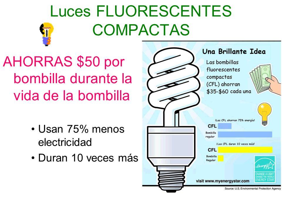 Luces FLUORESCENTES COMPACTAS AHORRAS $50 por bombilla durante la vida de la bombilla Usan 75% menos electricidad Duran 10 veces más
