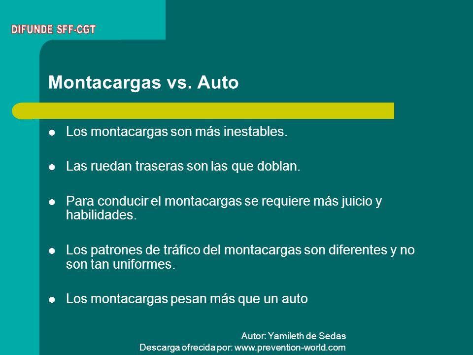 Autor: Yamileth de Sedas Descarga ofrecida por: www.prevention-world.com Montacargas vs. Auto Los montacargas son más inestables. Las ruedan traseras
