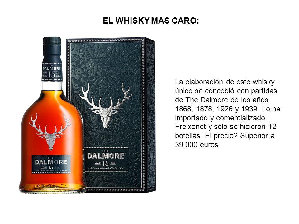 EL WHISKY MAS CARO: La elaboración de este whisky único se concebió con partidas de The Dalmore de los años 1868, 1878, 1926 y 1939. Lo ha importado y