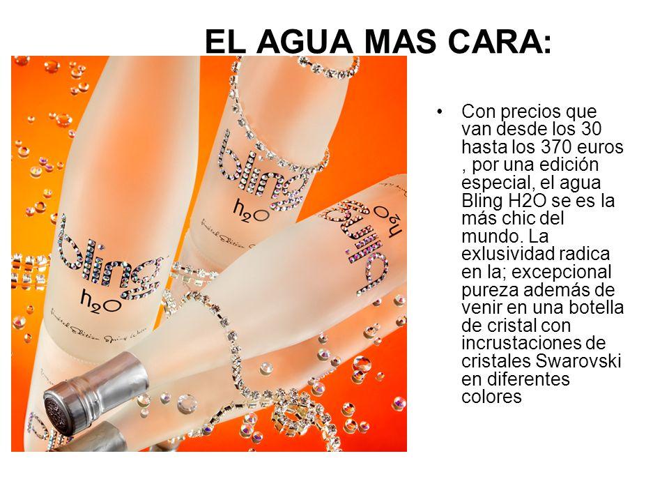 EL AGUA MAS CARA: Con precios que van desde los 30 hasta los 370 euros, por una edición especial, el agua Bling H2O se es la más chic del mundo. La ex