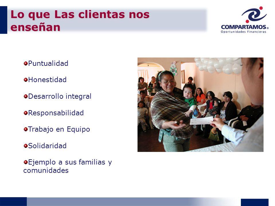 Lo que Las clientas nos enseñan Puntualidad Honestidad Desarrollo integral Responsabilidad Trabajo en Equipo Solidaridad Ejemplo a sus familias y comunidades