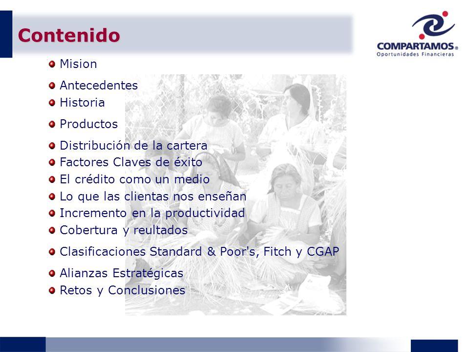 Contenido Mision Antecedentes Historia Productos Distribución de la cartera Factores Claves de éxito El crédito como un medio Lo que las clientas nos