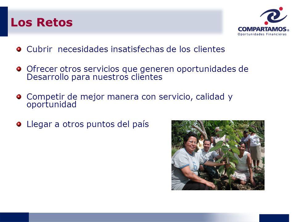 Los Retos Cubrir necesidades insatisfechas de los clientes Ofrecer otros servicios que generen oportunidades de Desarrollo para nuestros clientes Comp
