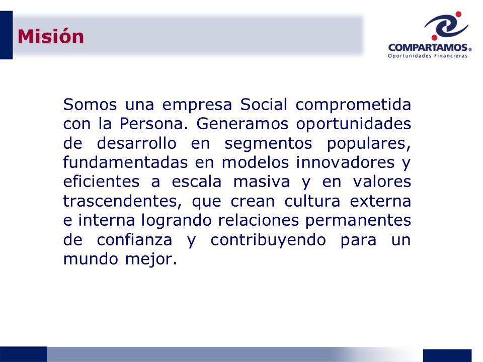 Misión Somos una empresa Social comprometida con la Persona. Generamos oportunidades de desarrollo en segmentos populares, fundamentadas en modelos in