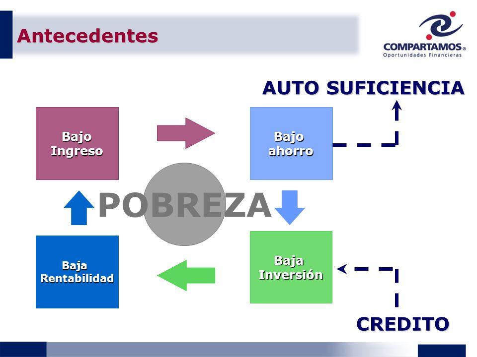 Antecedentes CREDITO POBREZA BajaRentabilidad BajoIngresoBajoahorro BajaInversión AUTO SUFICIENCIA