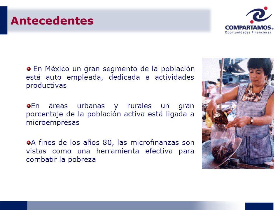 Antecedentes En México un gran segmento de la población está auto empleada, dedicada a actividades productivas En áreas urbanas y rurales un gran porcentaje de la población activa está ligada a microempresas A fines de los años 80, las microfinanzas son vistas como una herramienta efectiva para combatir la pobreza