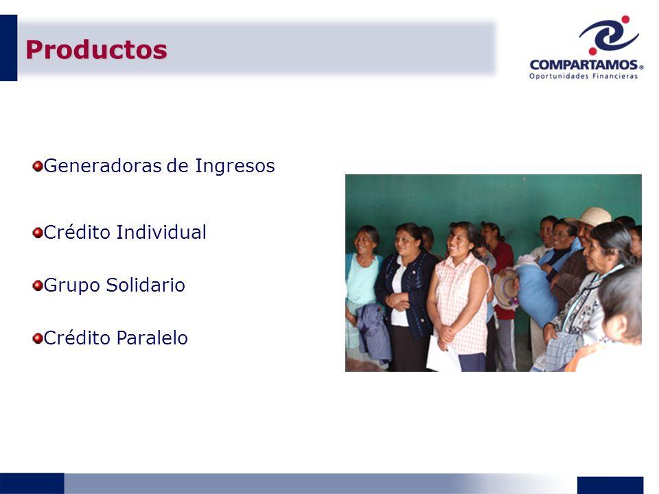 Productos Generadoras de Ingresos Crédito Individual Grupo Solidario Crédito Paralelo