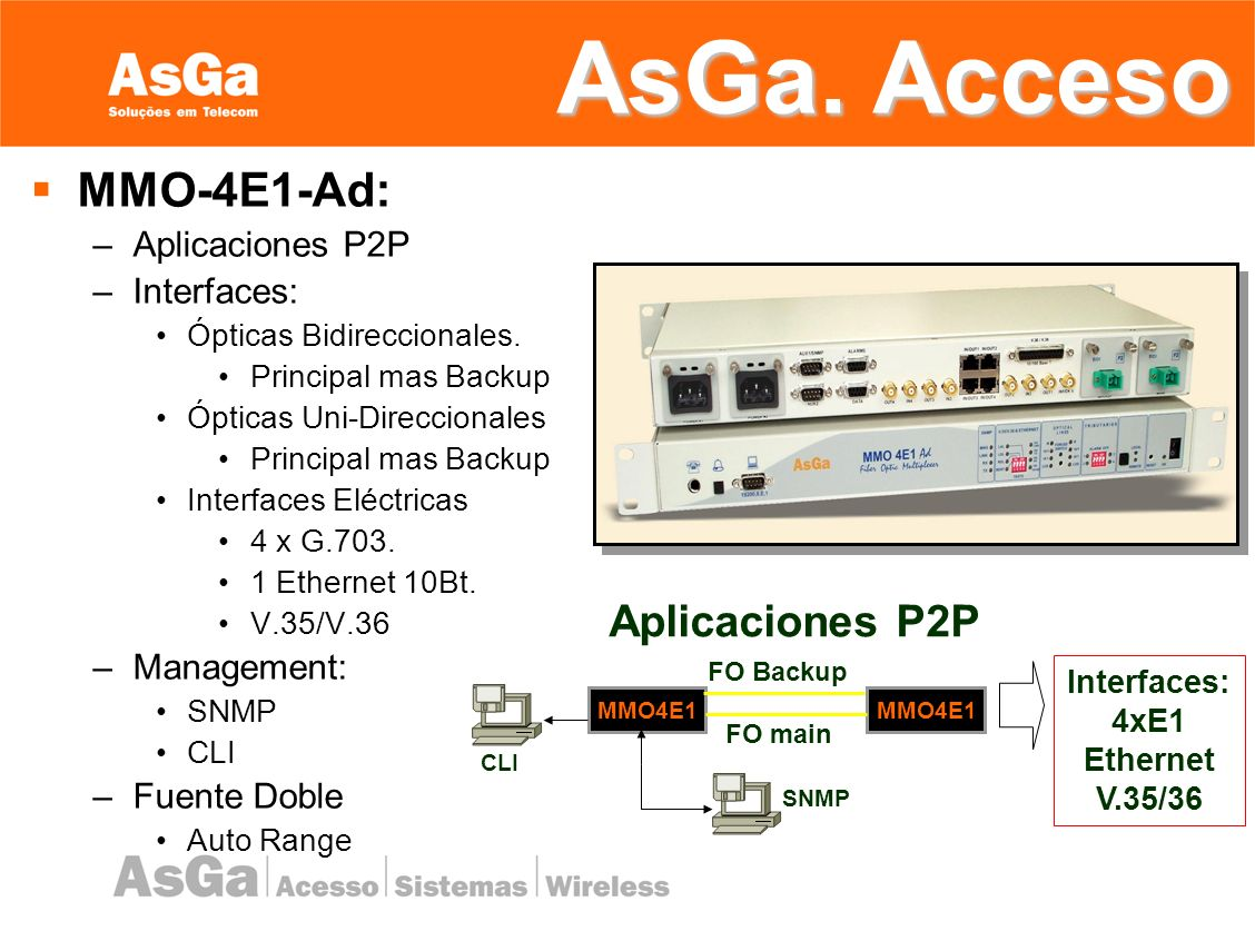 Conversores de Medio Ethernet: –10/100 Mbps Full; Duplex Half; Duplex Auto negociacion –Main and Backup Trunks.
