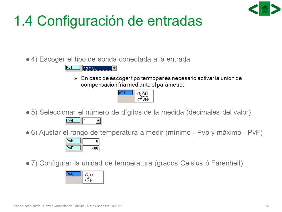 12Schneider Electric - Centro Competencia Técnica - Marc Casanova – 09.2011 1.4 Configuración de entradas 4) Escoger el tipo de sonda conectada a la e